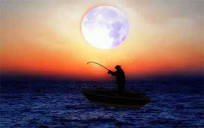 man fishing moon
